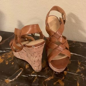Tan Cathy Jean wedges size 7 1/2